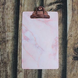 🎀3/$30 Pink Marble & Rose Gold Mini Clipboard
